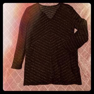 Escada Black and Gold Wool Blend Split Hem Sweater